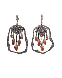 Arunashi Red Fire Opal and Spinel Earrings
