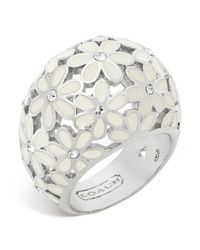 COACH - White Flower Domed Ring - Lyst