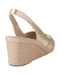 L.K.Bennett Metallic Barb Low Slingback Wedge Sandals