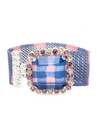 Marc By Marc Jacobs | Blue Crystal Bead Embellished Mesh Bracelet | Lyst