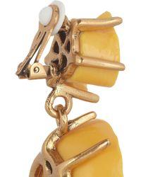 Oscar de la Renta Yellow Goldplated Resin Rose Clip Earrings