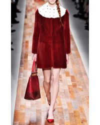 Valentino | Red Long Sleeved Scallop Edge Dress with Cross Scallop Detail | Lyst
