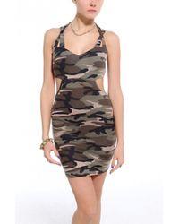 AKIRA Green Strappy Cutout Camo Dress