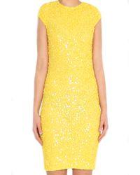 Alice + Olivia Yellow Taryn Beaded Cap Sleeve Fitted Dress