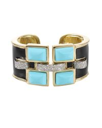 David Webb - Blue Turquoise Black Enamel Cuff with Diamonds - Lyst