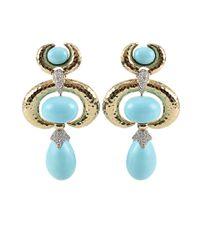 David Webb - Blue Turquoise Earrings with Diamonds - Lyst