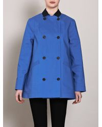 Hancock - Blue Contrastcollar Trench Coat for Men - Lyst