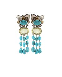Iradj Moini | Blue Triple Turquoise Citrine Flower Earrings | Lyst