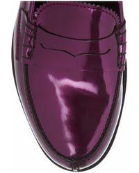 Jil Sander Purple Mirto Metallic Leather Penny Loafers