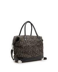 Mango Black Touch Leopard Print Tote Bag