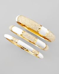 Rachel Zoe | Metallic Set Of Three Crystal Bangles White | Lyst