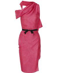 Roland Mouret Pink Bonnie Oneshoulder Silkblend Jacquard Dress