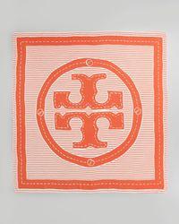 Tory Burch White Striped Logo Square Scarf