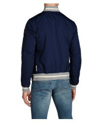 Armani Jeans Blue Bomber in Polyester with Rib Knit Trim for men
