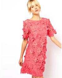 ASOS Collection Pink Shift Dress with 3D Flower Lace
