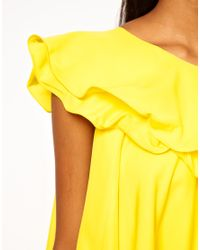 ASOS Collection Yellow One Shoulder Ruffle Shift Dress