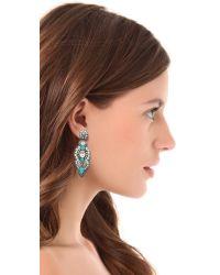 Deepa Gurnani - Blue Embellished Chandelier Earrings - Lyst