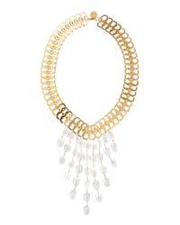 Devon Leigh - Metallic Clear Quartz Bib Necklace - Lyst