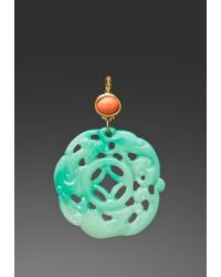 Kenneth Jay Lane | Green Coral Top Carved Jade Earring | Lyst