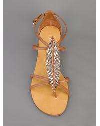 Lola Cruz Brown Embellished Leaf Sandal