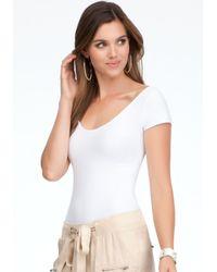 Bebe - White Double Vneck Bodysuit - Lyst