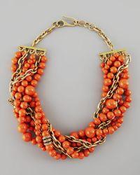 Paige Novick Metallic Julie 7strand Howlite Beaded Necklace Coral