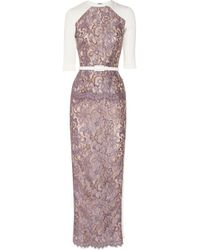 Alessandra Rich - Purple Crepe paneled Lace Gown - Lyst