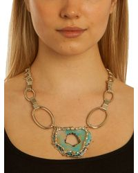 BaubleBar Metallic Teal Circle Slice Pendant