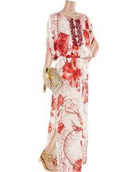 Roberto Cavalli | Red Shell-Print Silk-Chiffon Kaftan | Lyst