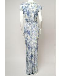 Erdem Blue Aurelia Cap Sleeve Gown