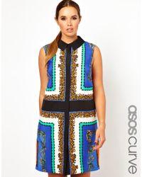ASOS Blue Shirt Dress in Scarf Print