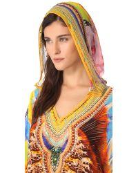 Camilla Multicolor Short Hooded Caftan Cover Up