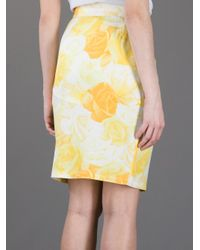 Versace Multicolor Rose Print Pencil Skirt