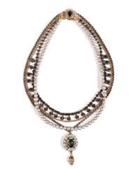 Mawi | Gray Antique Pearl and Crystal Necklace in Grey | Lyst