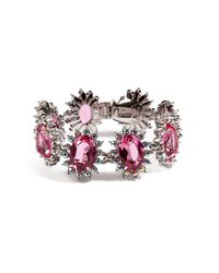 Mawi | Metallic Linked Daisy Gemstone Bracelet in Pink | Lyst