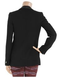 Mulberry Black Leathertrimmed Woolcrepe Blazer