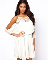 ASOS White Lace Dress With Cold Shoulder