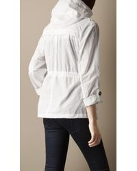 Burberry Brit White Cropped Hooded Parka