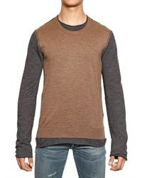 Dolce & Gabbana Brown Double Layered Wool Aplaca Knit Sweater for men