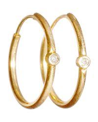 Jennifer Meyer | Orange White Diamond Hoop Earrings | Lyst