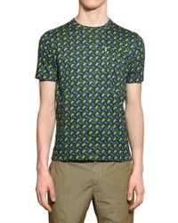 KENZO Green Cotton Jersey Printed Pocket T-Shirt for men