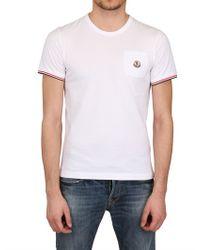 Moncler White Cotton Jersey Pocket T-Shirt for men