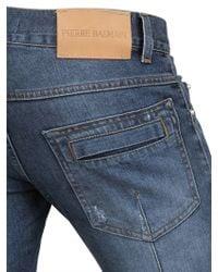 Balmain Blue 165cm Vintage Stretch Denim Biker Jeans for men