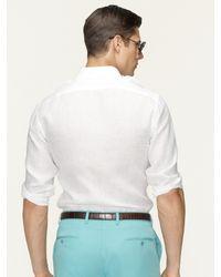 Ralph Lauren Black Label White Solid Linen Military Shirt for men