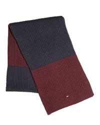 Tommy Hilfiger Purple Cashmere Blend Knit Two Tone Scarf for men