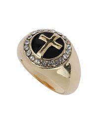 TOPSHOP - Metallic Cross Sovereign Ring - Lyst