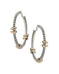 TOPSHOP | Metallic Skull Link Chain Hoop Earrings | Lyst