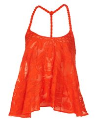 TOPSHOP | Orange Rope Strap Embroidered Cami | Lyst