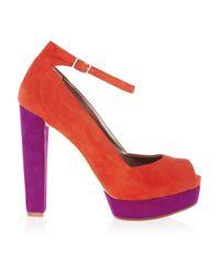 DKNY | Orange Corey Colorblock Suede Peeptoe Pumps | Lyst