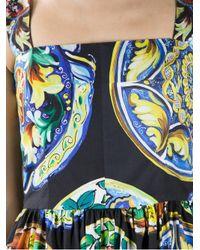 Dolce & Gabbana Black Sleeveless Printed Dress